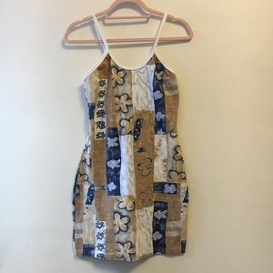 Vintage stretchy printed mini dress